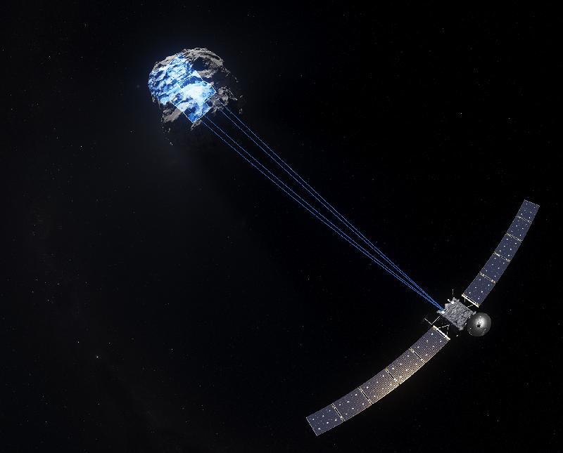 香港太空館七月一日起上映全新天象節目《天外有天》。圖示《天外有天》劇照,一個太空探測器在追蹤一顆彗星。