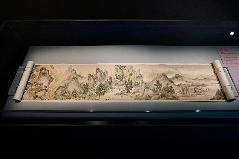 香港藝術館今日(七月二十八日)宣布獲至樂樓藝術發揚(非牟利)有限公司再度慷慨捐贈八件珍貴中國書畫藏品。圖示高簡的《江山不盡圖》(局部)。