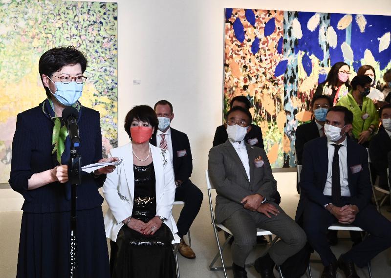 行政長官林鄭月娥今日(八月十二日)在「光的足跡」法國藝術展開幕典禮上致辭。
