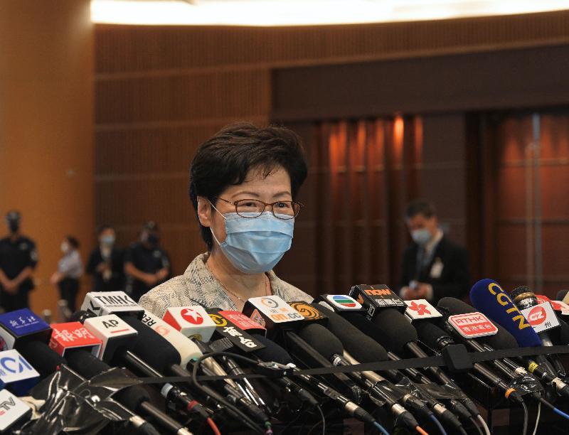 行政長官林鄭月娥今日(九月十九日)早上巡視位於香港會議展覽中心的投票站,實地視察二○二一年選舉委員會界別分組一般選舉投票站的運作情況後會見傳媒。