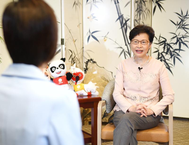 行政長官林鄭月娥今日(九月二十七日)繼續西安訪問行程。圖示林鄭月娥接受陝西媒體訪問。
